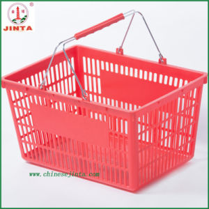 Plastic Shopping Basket with Metal Handle (JT-G07) pictures & photos