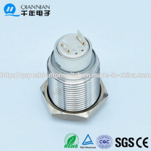 Qn16-E1 16mm Latching Flat Head 2pin Latching Sliver Push Button Switch pictures & photos