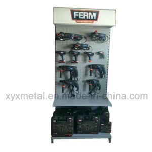 Customized Logo with Spot Light Metal Pegboard Shelf Tools Exhibition Display Rack pictures & photos