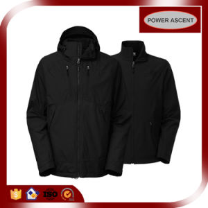 OEM Nylon 3-in-1 Softshell Black Jacket for Men pictures & photos