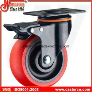Medium Duty Swivel with Brake Caster with Red TPU Wheel pictures & photos