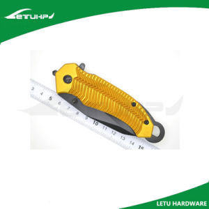 Foldable Locking Poket Knife with Gold Anodized Handle pictures & photos