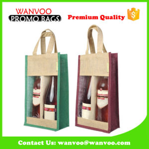 Two Bottle Wine Bag Jute Handle Bag pictures & photos