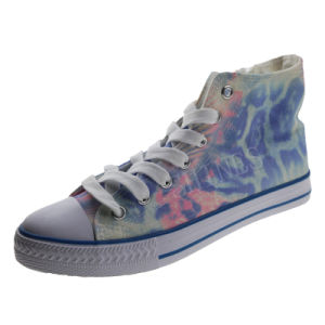 Leopard Printed High Top Lace up Vulcanized Shoe for Girls pictures & photos