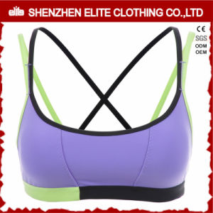 Ladies Strappy Cotton Lycra Sport Bra Cross pictures & photos