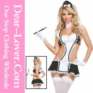Black White Sexy Apron Maid Costume pictures & photos