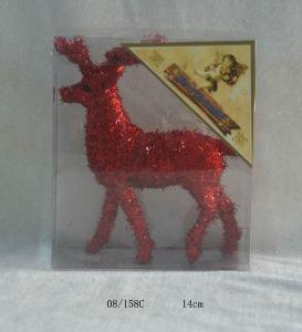 Crimson Foam Tinsel Deco. Christmas Deer Hanging Ornament