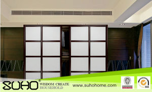Exquisite PVC Overlaid Sliding Door with Leather for Wardrobe