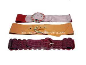 Fashion Elastic Adjustable Buckle Women Polyester PU Belt