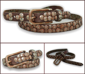 Rust Brown Genuine Leather Stud Belt pictures & photos