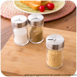 Free Sample Glass Spice/ Salt Glass Jar with Stainless Steel Lid for Kitchenware pictures & photos