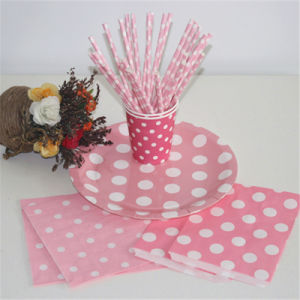 Biodegradable Paper Straws, Pink and White Striped, Box of 144 pictures & photos