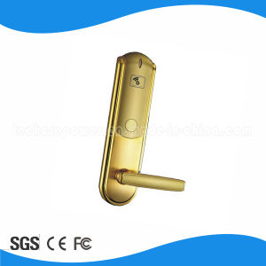 Golden Intelligent Zinc-Alloy Hotel Door Handle Lock with Free Sdk pictures & photos