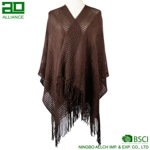 Fashion Women Winter Shawls Woven Capes with Tassels pictures & photos