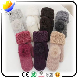 Ladies Winter Warm Coral Cashmere Gloves pictures & photos