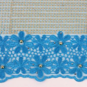 Turkey Blue Color Beaded African Wedding Lace Fabric pictures & photos