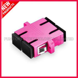 SC 10G Multimode OM4 Duplex with Flange Plastic Fiber Optic Violet Adapter pictures & photos