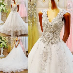 2017 V-Neck Line Crystal Bridal Wedding Dress Rfl1702 pictures & photos
