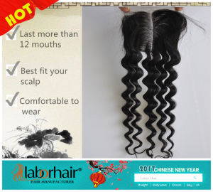 Middle/Free/3-Part Bleached Knots Brazilian Virgin Hair Lace Top Closure Swiss Lace Unprocessed Deep Wave Hair Lbh 270 pictures & photos