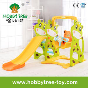 2017 Deer Cheap Style Children Plastic Slide and Swing for Garden (HBS17004C)