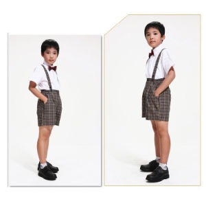 Summer 100%Cotton White Cotton Shirt and Pants Kids School Uniform pictures & photos