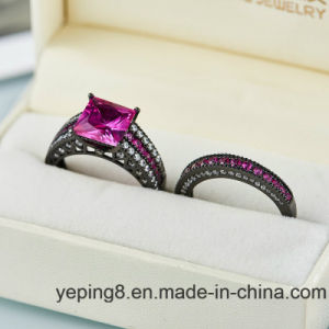 Black Plating Fashion Pink Engagement 925 Silver Ring- Set57 pictures & photos