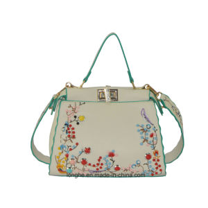 Popular Tote PU Handbag with embroidery  Artwork pictures & photos