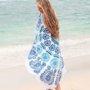 Fashion 100% Cotton Adult Round Beach Large Poncho Towel pictures & photos
