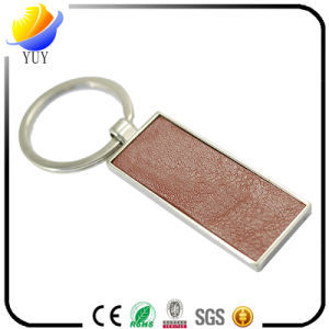 Modern Rectangle Shape Metal Lether Keychain pictures & photos