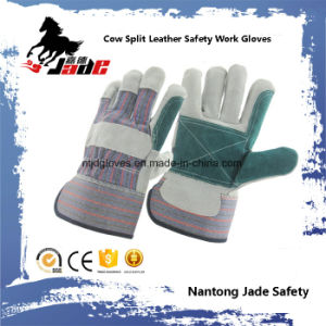 Double Palm Industrial Safety Cow Split Leather Work Glove pictures & photos