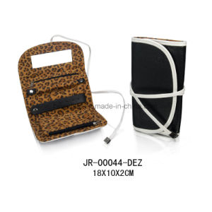 Customized Design Luxury Leopard Velvet Lining Style Jewelry Roll pictures & photos