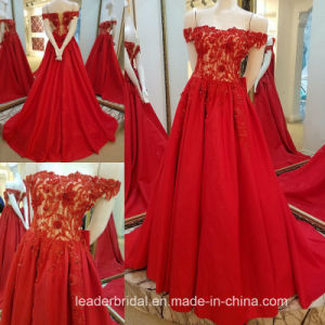 off Shoulder Wedding Gown Red Gold Wedding Dress Yao93 pictures & photos
