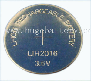 3.6V Rechargeable Li-ion Button Cell LIR2016 pictures & photos