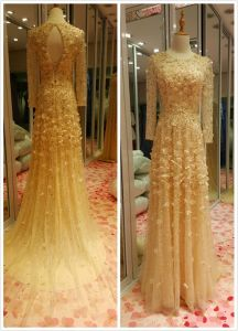 Gold Top Sale Long Sleeve Mermaid EU 32-40 Heavy Beading Evening Dress pictures & photos