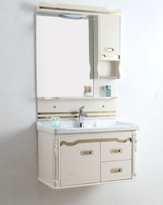 PVC Bathroom Furniture Wall-Mounted Ceramic Basin Cabinet Wds383 pictures & photos