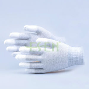 High Quality ESD Fingertip PU Coated Gloves, Fingertip Fit Gloves with Carbon Fiber pictures & photos