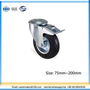 80mm Swivel Castor Wheel with Lock, Rubber Castor Wheel, Steel Core, Roller Bearing pictures & photos