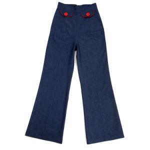 Women Plus Size Denim Jean Flare Long Pants Wide Leg pictures & photos