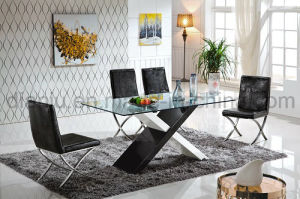 Black Glass Stainless Steel Dining Table (A8068) pictures & photos