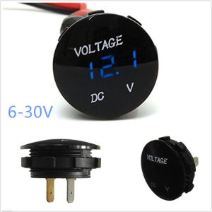 12V 24V Circular Panel Mount LED Voltmeter Waterproof 28mm Hole Round Red Blue pictures & photos
