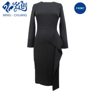 Newstyle Black Rear-Zipper Sexy Long Sleeve Fashion Women Dress pictures & photos