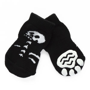 Halloween Series Human Skeleton Print Non Skid Dog Socks pictures & photos