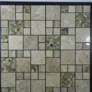 Good Price Gold Color Glass Mixed Stone Mosaic for Interior Wall pictures & photos