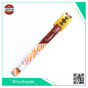Woven Wristbands with 20mm RFID Coin Inside PVC Slider pictures & photos