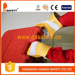 Ddsafety 2017 Reinforced Leather Palm Cotton Back Gloves Rubberized Cuff pictures & photos