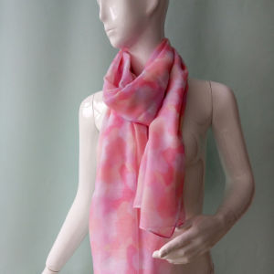 Pink Printed Voile Scarf for Women