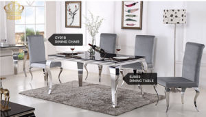 2017 Full Stainless Steel Dining Chair Banquet Chair and Table Home Furniture with Glass Price Sj802 pictures & photos