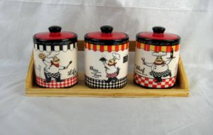 Set of 3 Ceramic Spice Jars with Wooden Stand pictures & photos