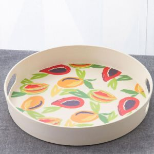 BPA Free Eco Bamboo Fiber Round Tray with Handle (YK-T7007) pictures & photos