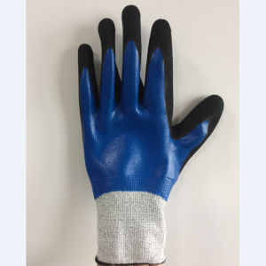 Sandy Nitrile Coated Polyester Liner Safety Work Glove pictures & photos